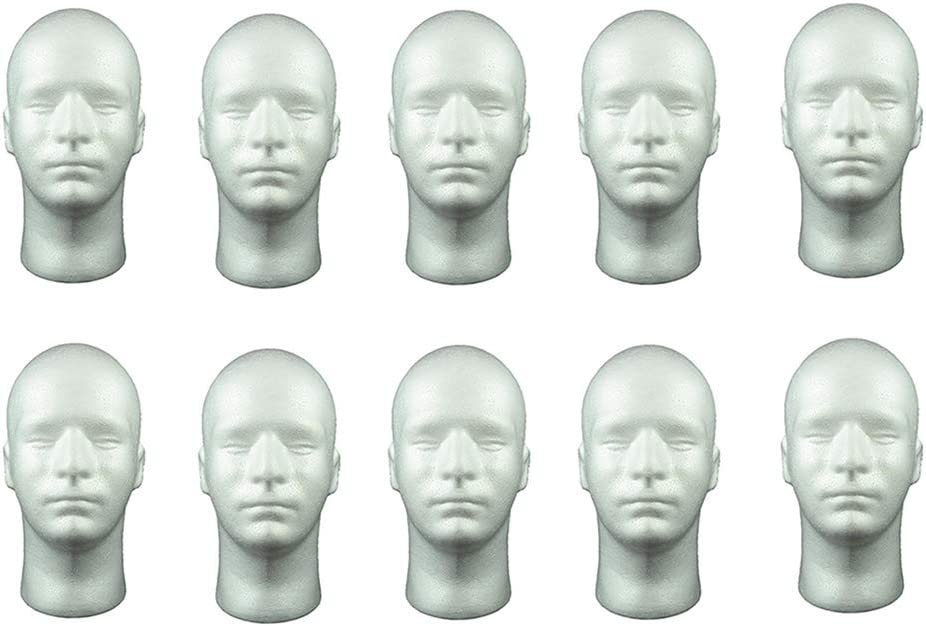 dailymall 10 Pack 20'' At the price Male Mannequin Manikin Foam Hea Styrofoam Discount mail order