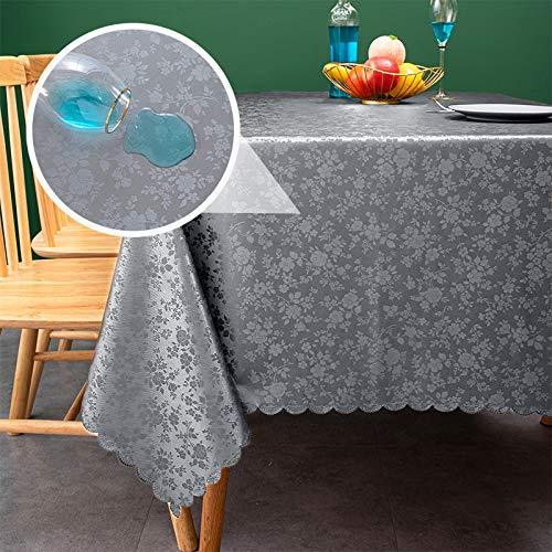 sancua Waterproof Vinyl PU Tablecloth, 60 x 84 Inch, Durable Washable Spill Stain Proof Rectangle Table Cloth, Floral Wipeable Table Cover for Dining & Kitchen Table, Indoor & Outdoor Use, Rose Grey