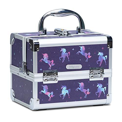 Joligrace Kosmetikkoffer Schminkkoffer, Kosmetik Make up Organizer Koffer Mit Schlüssel und Spiegel Verschließbar Multikoffer, Makeup Koffer Blau