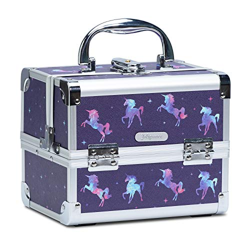 Joligrace Girls Makeup Box with Mirror Cosmetic Case Jewelry Organiser Light Weight Lockable with Keys, Size: 19.5x15x16cm, Unicorn