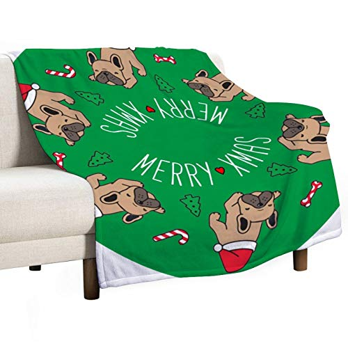 3D Fleece Bed Blankets Dog Christmas French Bulldog Anti-Shrink Throw Blankets Comfort Single-Sided Printing Blankets for Living Room