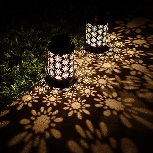 YINUO LIGHT 2 Pack Solar Lanterns Outdoor Hanging Retro Metal