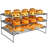 TopKitchenGadgets™ 3 Tier Stackable Cooling Rack ☆ Non Stick Oven Safe & Heat Resistant ☆ Use with Baking Tray for Cakes, Biscuits & Bread.