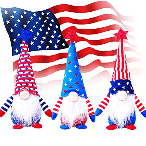 4th of July Decorations, Set of 3 Patriotic Gnome Plush, American USA Independence Day Party Supplies Standing Figurine…