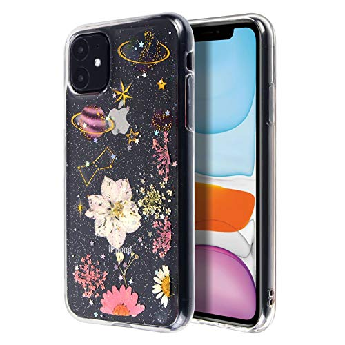 Floral & Space Case Compatible with iPhone 11 (6.1 inch), Glitter Crystal Pressed Dried Real Flowers Soft TPU Cover for Teen Girls Womens Planet & Daisy, by Insten