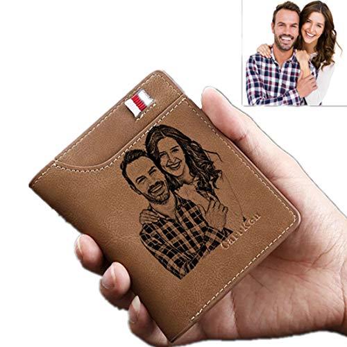 Personalizado Foto Billetera para Hombre Negro Cuero de la, con Bolsillos Pare Tarjetas de Crédito, Billetes, Bolsillo, Monedero,Marrón-Un Lado
