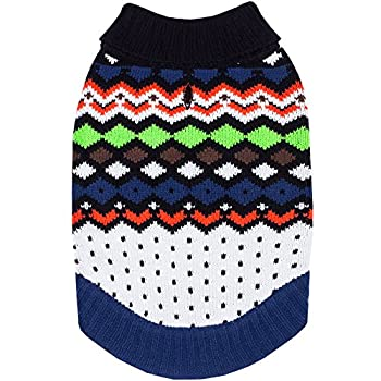 Blueberry Pet Over The Rainbow Multicolor Argyle Pattern Shawl Collar Dog Jumper, Back Length 10