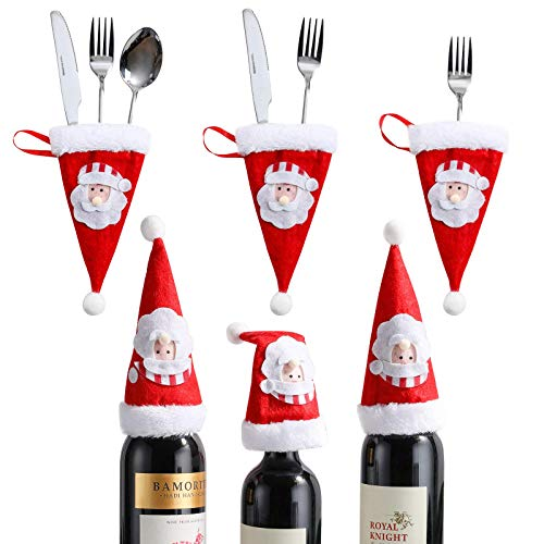 Oneleaf Christmas Santa Hats Silverware Holders, Mini Bottles Cover, Cutlery Fork Spoon Knife Storage Bag, Cute Tableware Christmas tree Decoration Supplies for Xmas Party Kitchen Dinner
