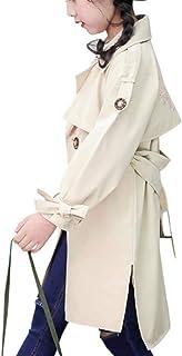 キッズ ガールズ トレンチコート ジャケット ベルト付 アウター カーキ 女の子 子供服 トップス 春 秋 冬 スプリングコート