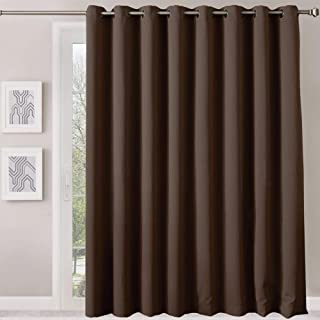 Rose Home Fashion Patio Sliding Door Curtains - Extra Wide Blackout Curtains, Keep Warm Draperies, Room Divider Curtain Screen Partitions, Chocolate Sliding Glass Door Drapes 7ft Tall x 8.3ft Wide