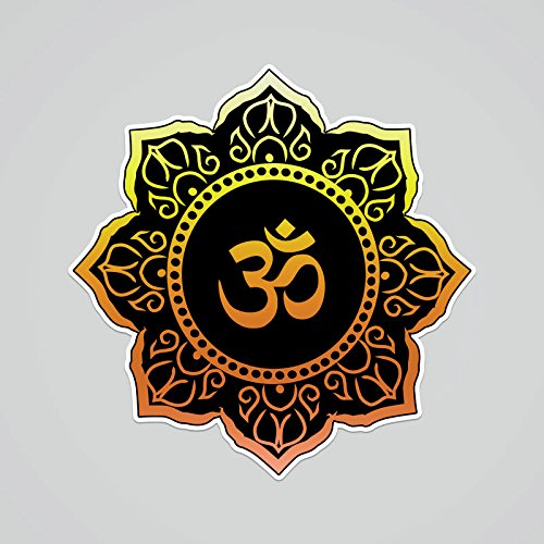 CMI PD240 2-Pack OM Symbol Black Gold Flower Decal Sticker | 5.5-Inches by 5.4-Inches | Meditation Conciousness Religious Motivational Inspirational | Premium Quality Vinyl