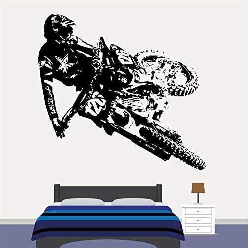 WERWN Motocross Dirt Bike Tatuajes de Pared Dormitorio de niño Sala de Juegos decoración del hogar Motocicleta Deportes Extremos Arte Vinilo Etiqueta de la Ventana Mural