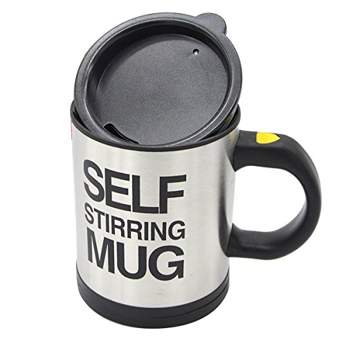 Stainless Steel Coffee Mug Self Stiring Mugs Electric Automatic Mixing Cups for Stir Coffee Milk Mix Juice Drink and Plastic 300ml 12-18 OZ Black