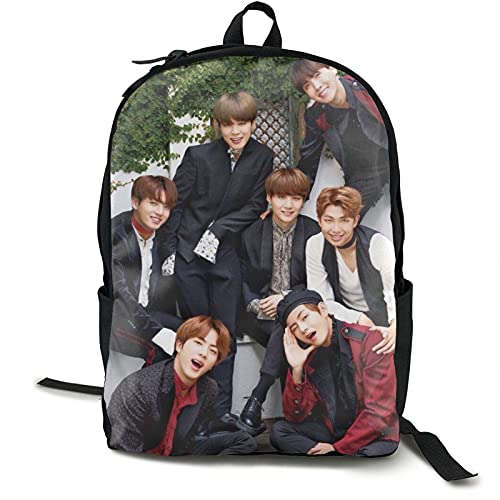 K-POP B-T-S Laptop Backpack Foldable Casual Book Bags Backpack with Usb Charging/Headphone Port High School Travel Daypack