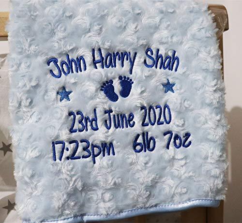 Personalised Baby Blanket Luxury Rosebud Style Blue Round Font Name Date...
