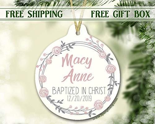 rfy9u7 Girl Gift, Baptism Gift, Christening Gift, Personalized Baptism, Baptismal Gift, Girl Baptism Christening, Girl Christmas Ornament, 3 Inch Ceramic Holiday Home Decor