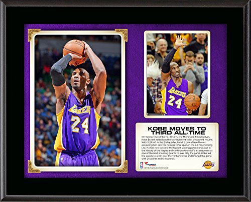 Kobe Bryant Los Angeles Lakers Third All-Time Scoring Sublimated 10.5