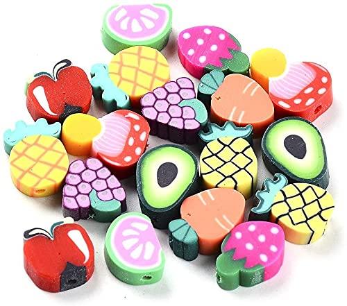 Beadthoven - 50 cuentas suaves de arcilla polimérica, diseño de frutas variadas, para joyas, collares, pulseras. Agujeros: 1,4 mm.