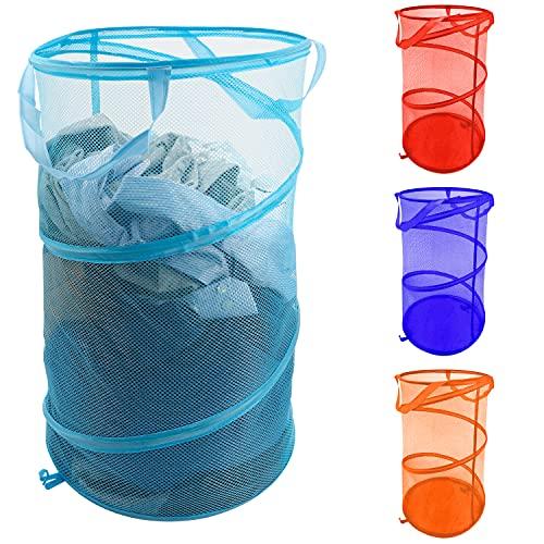 BELLE VOUS Faltbarer Wäschekorb Kinder Wäschekorb Klappbar (4er Pack) - Leicht zu Öffnen, Tragbar, Langlebig und Faltbarer Stoffkorb mit Griffen für Kleidung, Wäsche und Kinderspielzeug - 4 Farben