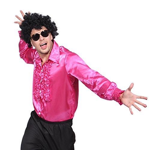 maboobie Déguisement costume tenue chemise FLUO A FROUFROUS RUCHE DISCO boite halloween M L XL année 70 80 1970 1980