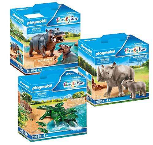 PLAYMOBIL Set para 70341 Zoo: 70354 caballo de río con bebé + 70357 rinoceronte con bebé + 70358 cocodrilo con bebés.