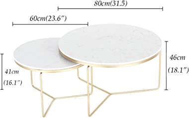 Round 2 Nest of Table Sets Marble Living Room Furniture Sofa Coffee Table Side Table End Table Modern Bedroom Nesting End Bed