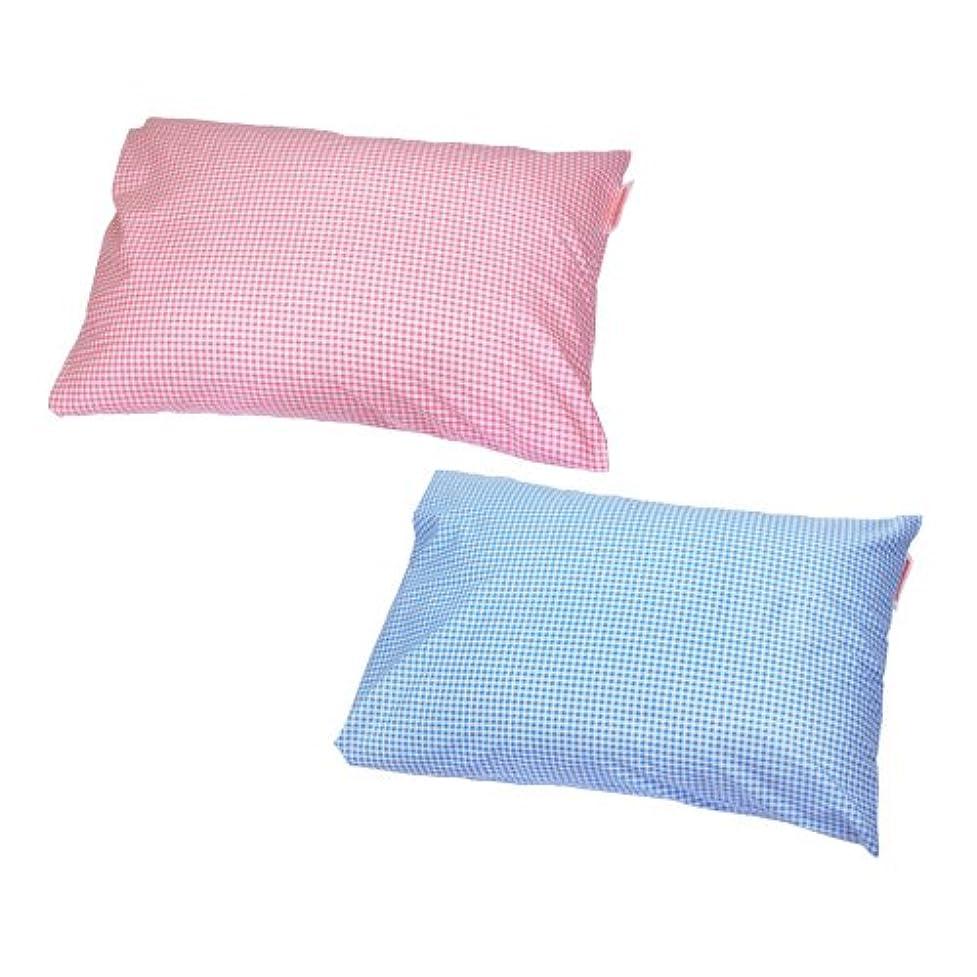 聡明返還野生枕カバー 35×50cmの枕用 封筒式 ギンガムチェック 安心の日本製 ブルー