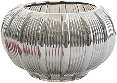 Vase HUXIUPING Moon Pattern Silver Glass Modern Minimalist Large Flower Living Room (Size : S)