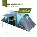Skandika Hammerfest Family Dome Tent with 2 Sleeping Cabins, 200 cm Peak Height, Blue, 4-Person 2