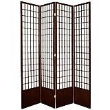 Oriental Furniture 7 ft. Tall Window Pane Shoji Screen - Walnut - 4 Panels