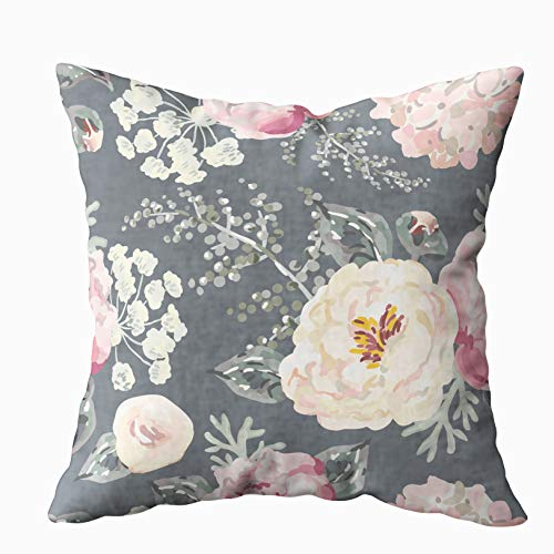 KIOAO Pillowcase Standard 16X16Inches Square for Cushion Home Decorative, Pink Peonies Gray Leaves The Black Background Pattern Romantic Garden Pillow Covers Printed Both Sides of Cotton,Pink Black