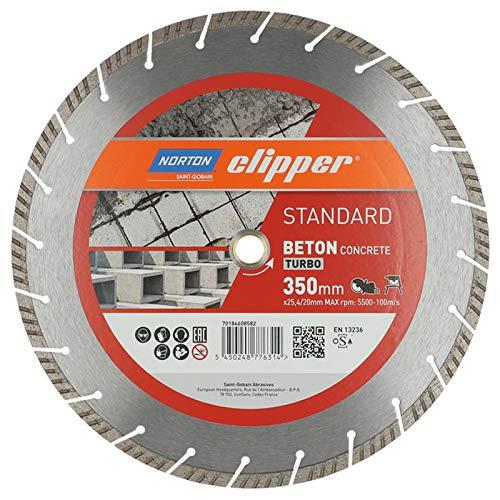 Norton Clipper Diamant Trennscheibe STANDARD BETON TURBO 350 x 25,4/20 mm (Universalscheibe für allgemeine Materialien wie Beton, Pflastersteine, Kantensteine, Mauerwerk, Ziegel)