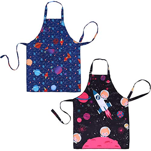 SUSSURRO 2Pcs Kid Space Apron with 2 Pockets Adjustable Chef Apron for Kids for Boys Girl's Kitchen Cooking Baking Painting Wear( Space and Star)