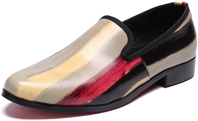 Rui Landed Oxford Für Mann Formelle Schuhe Slip On Style Hochwertiges Echtes Leder Mode Regenbogen Geprgt Erfrischend Nachtclub (Farbe   Gelb, Gre   40 EU)