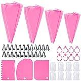 Spritztüllen Set, 51-teiliges Set mit Spritzbeuteln und 8 wiederverwendbaren Silikon-Spritzbeuteln in 4 Größen, 24 Spritztüllen, 3 Kuchenschaber, 8 Konverter, 8 Krawatten, rosa
