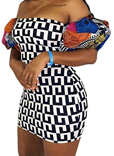 CORAFRITZ Mini vestido bodycon con estampado de moda para mujer