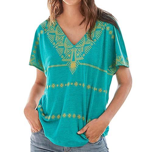 Eaktool Womens Short Sleeve Tops Casual Bohemia Geometric Print V Neck Blouse T-Shirt Summer Beach Travel Loose Clothes(Mint Green,Small)