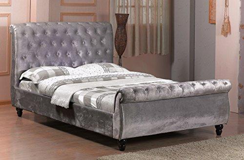 4FT6Doppelbett Chesterfield Schlitten Stil gepolsterten Samt Stoff Designer-Bett, Rahmen in Silber