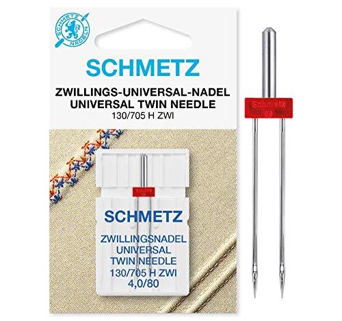 SCHMETZ Nähmaschinennadel Zwillings-Universal-Nadel 4,0/80 | 130/705 H ZWI NE 4.0 | geeignet für alle gängige Haushalts-Nähmaschinen mit Zickzackfähigkeit