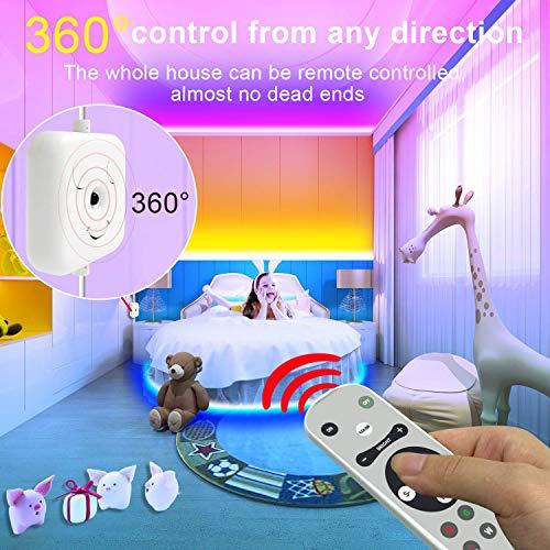 "65.6ft LED Strip Lights, Music Sync Color Changing RGB LED Lights""Smile Face""Controller & Remote Built-in Mic, Bluetooth APP Light Strip Rope Lights, LED Light Strip for Bedroom 3"