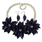 BJINUIY Exquisito Collar de Flores, Conjunto de aretes, Azul Natural Fresco