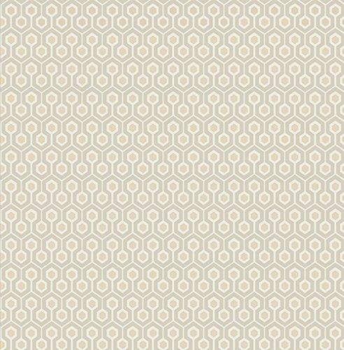Parato geometrico anni 70 bianco e avorio design contemporaneo in carta duplex semilucido La dolce vita DV6506.