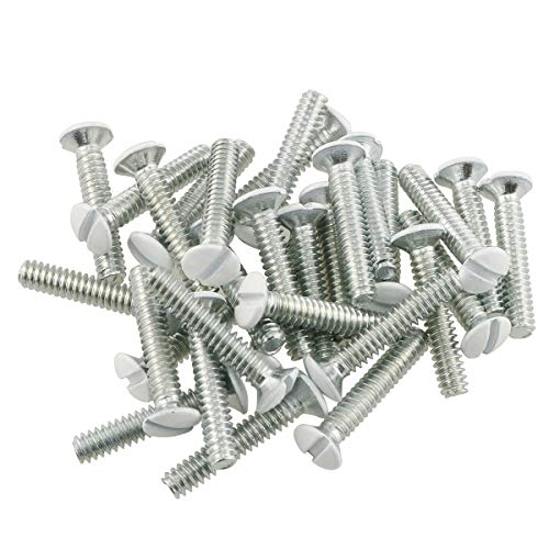 E-outstanding 50-Pack Wall Plate Switch Panel Mounting Screws 25mm/1 Inch-White, Galvanized
