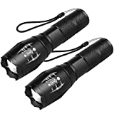 Flashlights 2 pack, ZHUPIG LED Flashlight, Handheld Flashlight with High Lumens, Zoomable, 5 Modes, Water Resistant for Camping, Outdoor, Emergency, Everyday Flashlights