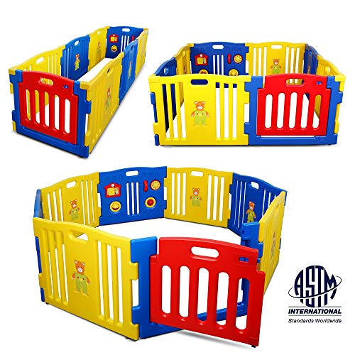 Kidzone Interactive Baby Playpen 8 Panel Safety Gate Children Play Center Home...