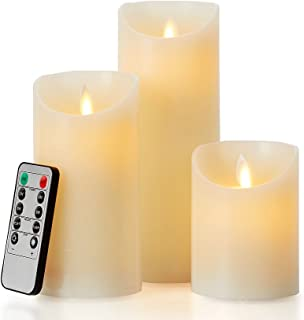 glowiu Flameless Flickering LED Candles Moving Flame, Battery Candles Set of 3(H 4