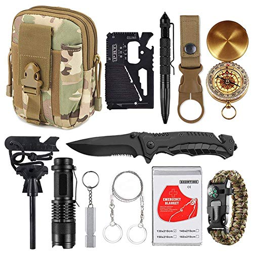 XUANLAN Emergency Survival Kit 13 in 1, Outdoor Survival Gear Tool with Survival Bracelet, Fire Starter, Whistle, Wood Cutter, Water Bottle Clip, Tactical Pen (Survival Kit 4)