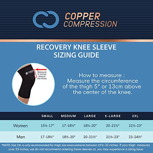 Copper Compression Recovery Knee Sleeve - Guaranteed Highest Copper Content with Infused Fit. Best Copper Knee Brace for Men and Women. Wear to Support Stiff + Sore Muscles + Joints