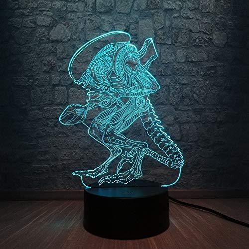 Película de acción Alien vs Predator Prometheus 3D Lámpara de mesa Regalo de juguete para niños LED USB Cambio de luz nocturna Cool Boy Toy Design Hoday Gift