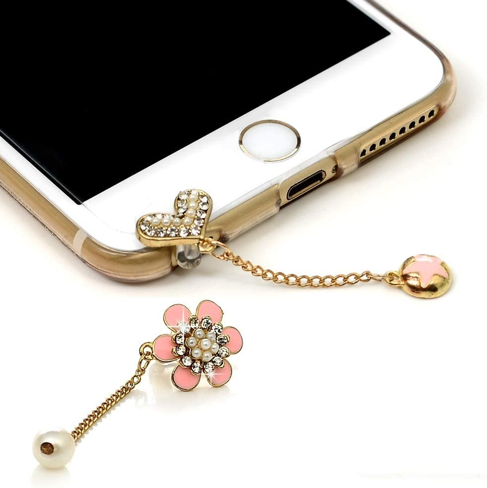 Houston Mall Mavis's Diary 2 Pcs Cute Bling Cell Max 43% OFF Charm Plugs Dust Accessories